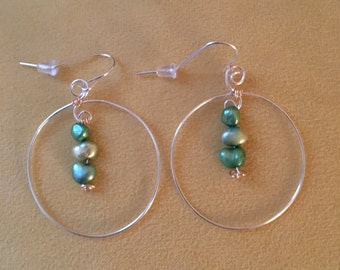 Silver Hoop Earrings with Fresh Water Pearls and Silver Plated Wire