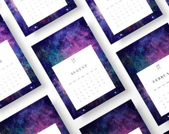 Galaxy Calendar 2017, Wall Calendar Printable, Printable Calendar 2017, 2017 Printable Wall Calendar, 2017 DIY Monthly Calendar Wall Art