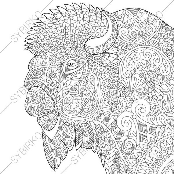 Adult coloring pages buffalo bison zentangle doodle for Bison coloring pages