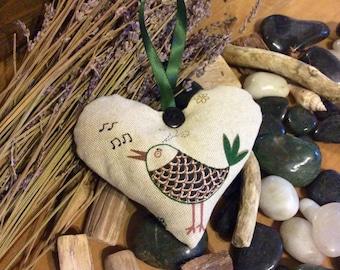 Handmade 'Little Bird' Lavender Hearts