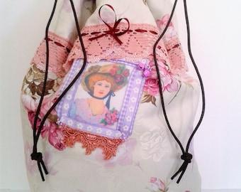 Shabby chic boho bag, shabby pajamas bag,  romantic boho bag, pyjamas bag, shabby chic style, shabby chic romantic bag, pajama tote
