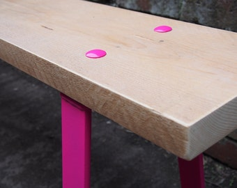 Reclaimed Timber Steel Bench in Pink