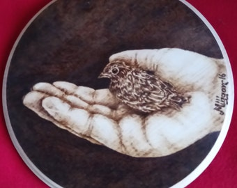 Wood burning Pyrography Picture Bird & Hand