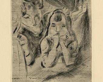 "JULES PASCIN (PINCAS) (Bulgarian/American, 1885-1930), ""Mere et Fille"", 1922, original etching"