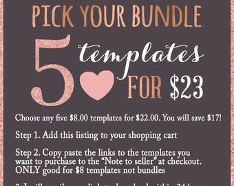 5 Templates for 23 Dollars, Make Your Own Bundle, Photoshop Photographer Template Package