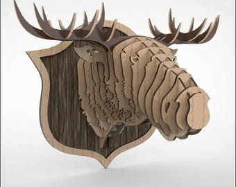 Trophy of a moose head 3D puzzle ,CNC ,decoration,decorative ,head ,interior,dxf file ,toy ,trophy ,wall ,wood, vector graphic,laser