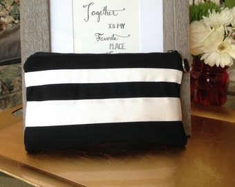 Black and White Stripe Wristlet | Clutch | Bridesmaid Present