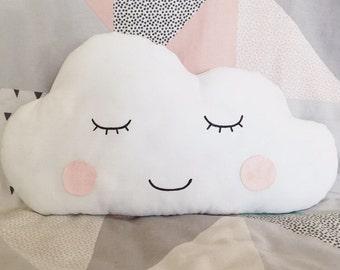 White cloud cushion. Blue or pink. Personalised custom  gift. Nursery playroom bedroom. New mum baby shower gift