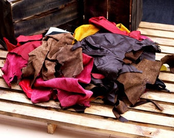 1 kg Leather Scraps - LeatherTrimmings - Cowhide and Sheep Hide - Full Grain - Top Grain - Assorted Colors - Leather Craft