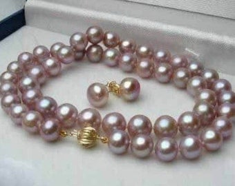 7-8MM Natural Purple Akoya Cultured Pearl Necklace 18'' + Earring Set