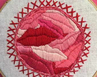 Lips and Kisses ,Hand Embroidery Lips,Embroidery Hoop,Hoop Art,Wall Art,Stitch Art,Door Art.