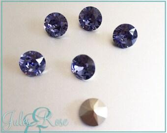 8mm Swarovski Chaton, Tanzanite, Foil back, Xirius1088 size SS39, genuine Swarovski crystal rhinestones