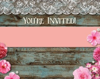 Rustic Lace and Wood Invitations