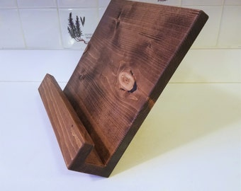 Handmade Cookbook Tablet/iPad Stand Holder Distressed Wood Modern Rustic Dark Amber Washed Office or Kitchen