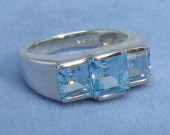 Natural Sky Blue Topaz Three Stone Ring - Sterling Silver - 941333 - Free Shipping to the USA