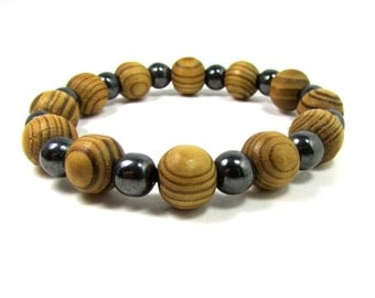 Wood and Hematite Bracelet, Men Bracelet, Mens Gift, Mens Bracelet, Men Gemstone Bracelet,Bracelet for Men, , Beaded Bracelet