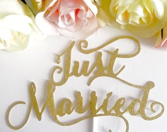 Just Married Gold Glitter Cake topper, Wedding, Registry, Mr and Mrs, congratulations