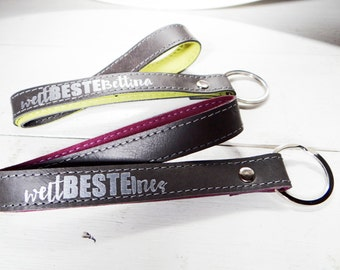 World's best Keychain leather with text inside and outside