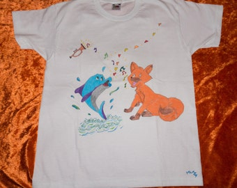 Kids T-Shirt 9/11 years, pattern drawn by hand, Fox and dolphin, animals, sea