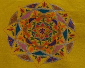 T Shirt women - Size XXL - drawn Mandala - handmade