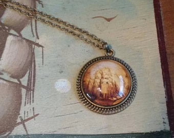 Antique Bronze Nautical Tallship Glass Cabochon Pendant Necklace With Chain