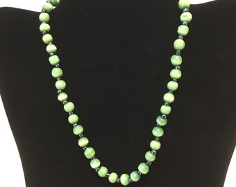 Antique / Jade Green Glass Beaded Necklace