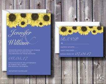 Periwinkle, Sunflower Printable Wedding Invitation & RSVP