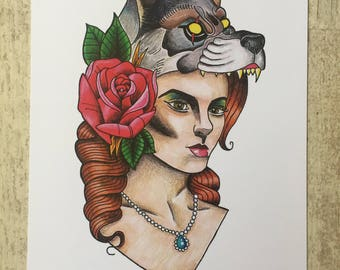 Print Illustration woman Wolf