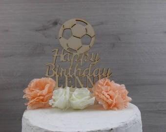 "cake topper ""soccer"" - birthday / birthday decoration / cake topper  / birthday present"