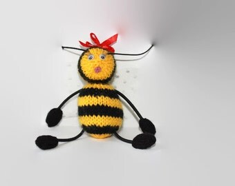 Stuffed Bee, Toy Bee, Knit Bee, Hand Knit, Soft Knit Toy, Kids Toy, All Handmade, Knit Toy, Baby Gift.