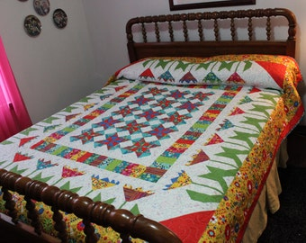 Queen sized quilt, handmade quilt, queen quilt, bright colored quilt, free shipping