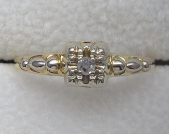 Illusion Top Engagement Ring - 10 kt Yellow & White Gold