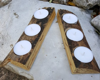 Rustic Live Edge Tealight Candle Holder