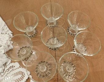 Eight Vintage 1950s Ice Cream Sherbet Dessert Glasses