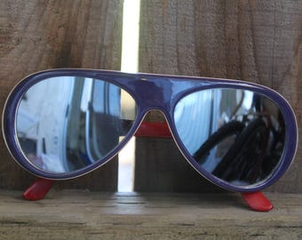 Aviator Sunglasses Vintage 1980's Red, White, Blue Sunglasses Mirrored Lens Retro Glasses Team USA 4th Of July Sunglasses Made in Taiwan