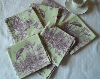 5 Linen Toile Napkins in Mint/Lilac