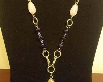 Long beautiful set collar and earrings casual and elegant. blue color charm,rosequartz earrings.