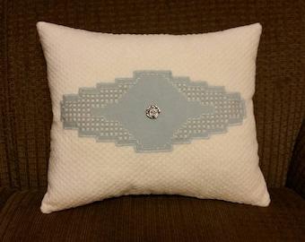 """15""""x13"""" hardinger lace technique cross stitch pillow."""
