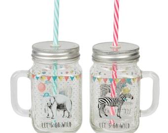 Glass Party Animal Mason Jars with Straws Zebra/Elephant