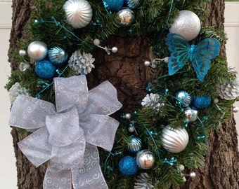 Aqua and silver butterfly wreath