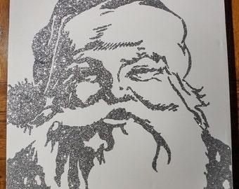 Retro Glitter Santa on Canvas