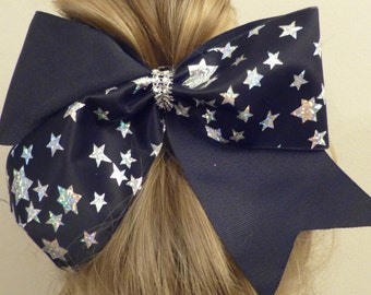 Cheer Bow Black with silver stars
