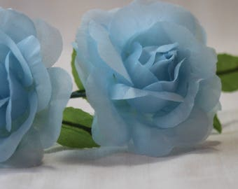 Vintage 80s-90s blue roses,Roses flowers bouquet,Fabric flowers,blue floral garnish, vintage millinery,art craft flowers,artificial roses
