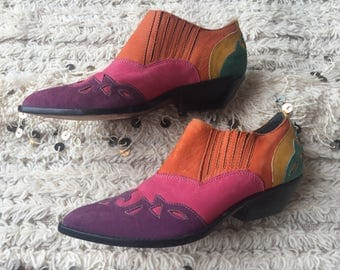 Vintage RAINBOW Patchwork Cowboy Western ankle Boots FESTIVAL STYLE  us 6.5 - 7