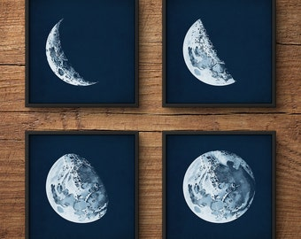 Moon Phases Print Set, Moon Phases Posters, Moon Posters, Moon Prints, Moon Art, Astronomy Print, Nautical Decor, Large Wall Art, Moon Phase