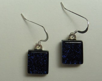 Dichroic Fused Glass Earrings - Dark Navy Blue - Sterling Silver French Hooks