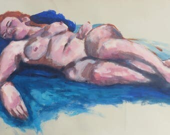 Reclining female nude - Painting from life, plus size, original art, blue, pink, affordable art, plus size, bedroom, sensual, decor,