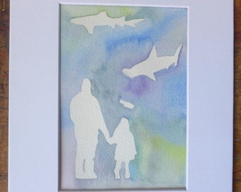 Shark Watercolor Painting, Original Art, Girl with dad, with mat, Good Cause Item, Girls Room, Shark Lover, Donation, Animal Rescue, Ocean