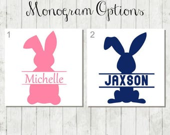 Personalized Easter Bunny Decal - DIY Easter Bucket Decal -  Easter Decal - Bunny Monogram - Easter Bunny Decal - Easter Gift - Bunny Decal