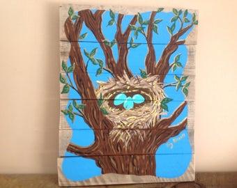 Original,handpainted,spring,eggs,nest,robins eggs,nest of eggs,nest in tree,painting of nest,reclaimed wood,cottage decor,acrylic painting.